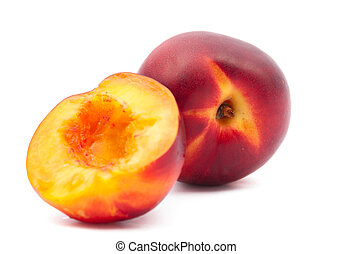 juicy peach on a white background