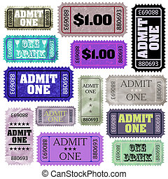 Set of ticket admit one EPS 8 vector file included