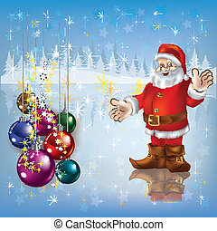 Christmas greeting with Santa Claus and decoration