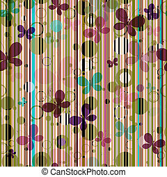 Striped seamless pattern with colorful butterflies (vector...
