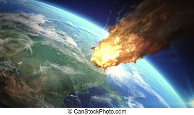 Meteor heading to Earth - Burning meteor heading to...