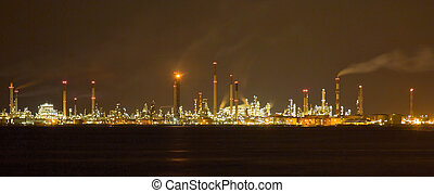Oil Refinery Nightscape - Oil refinery located several miles...