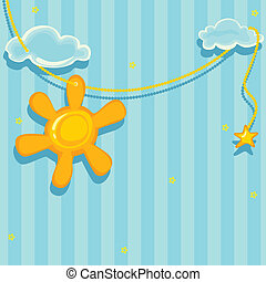 Good morning. Vector background cute sun and clouds.