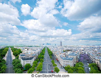 Paris Defense cityline - Morning view from Arc de Triomphe...