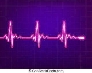 Heart cardiogram on deep fiolet. EPS 8