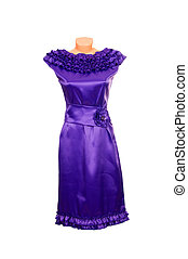 Chic violet dress on a white.