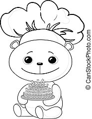 Teddy bear cook with cake, contour