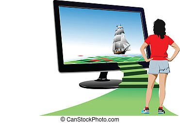 Futuristic monitor with sailing ship and young woman...