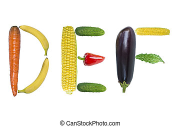 Letters DEF from fruits and vegetables - Letters DEF from...