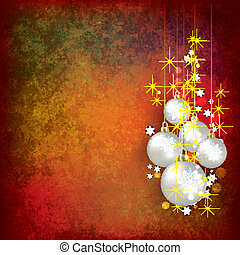 Christmas grunge greeting with balls on red - Abstract...