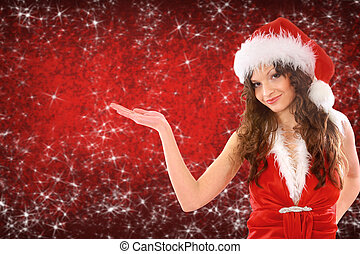 woman dressed as santa with her hand up, place your product...