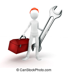 3d man engineer with toolbox and wrench on white