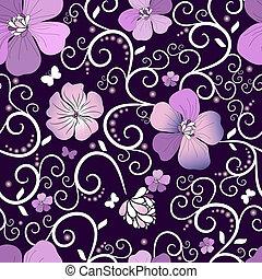 Violet floral pattern - Dark violet seamless floral pattern...