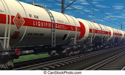 Freight train with tank cars - Freight train with petroleum...