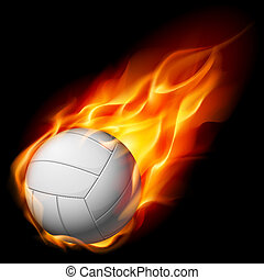 Fire volleyball Illustration on white background