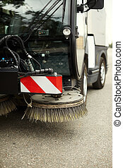 street sweeper - part of street sweeper, selective focus on...