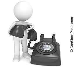 Contact - 3D little human character with a Black Telephone...