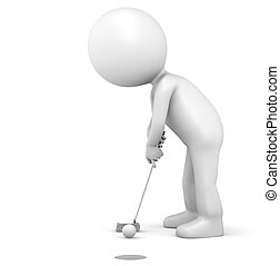 Hole in One - 3D little human character The Golfer making a...