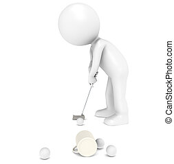 Golfer at the Office - 3D little human character The Golfer...