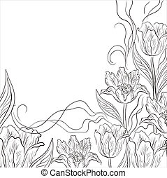 Flower background, tulips, contour