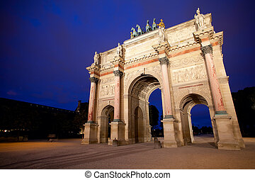 Triumphal arch in Paris night shot