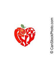 """I love New York symbol - Words """"I love NY"""" and apple shaped..."""