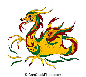 funny Chinese dragon is symbol of calendar 2012