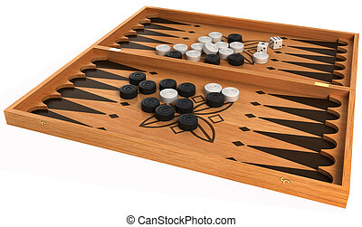 Games: backgammon with chips and dice