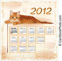 hand drawn calendar 2012 with lying ginger kitten