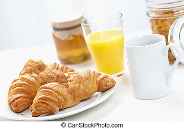 Continental Breakfast, coffee cereals, croissants,honey,...