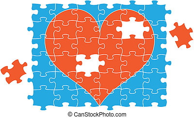 jigsaw puzzle heart, vector - red jigsaw puzzle heart,...