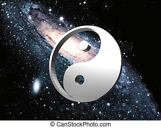Ying Yang sign with a space background