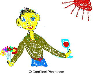 Congratulations - Young beautiful dressed man with glass of...