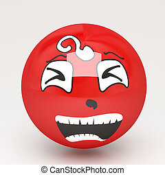 unhappy 3d smile on isolated white background