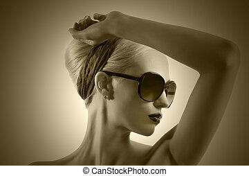 fashion portrait of young blond woman with hair style black...