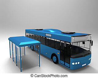 Model bus and bus stop