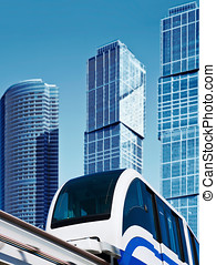 modern monorail - modern monorail in the city of skyscrapers...