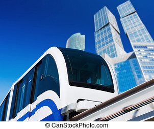 modern monorail in the city of skyscrapers