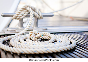 Nautical mooring rope - Close-up of a mooring rope with a...
