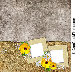 frames and flowers on vintage background