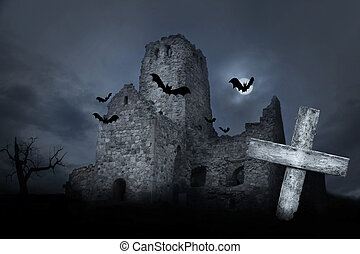 Ruin with bats - Ruin with grave and bats in moonshine