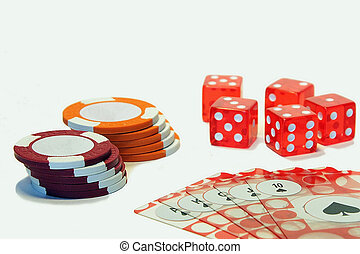 Poker lucky - Stack of poker chips with dices and flash...