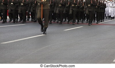 Mixed Soldier - Mixed Army soldier walking, shoot Canon 5D...