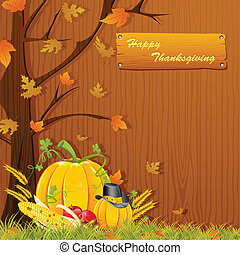 Thanksgiving Background - illustration of autumn tree with...