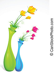 Flower Vase - illustration of bunch of fresh flower in...