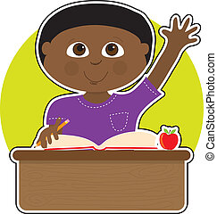 Little Boy at School Black - A little Black boy is raising...