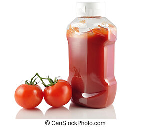 tomato ketchup and fresh tomatoes on white