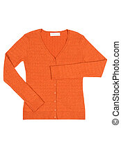 Elegant orange jumper on a white - Modern brown jumper...