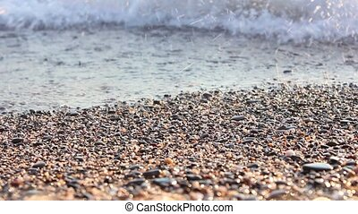 Sea waves on the shore