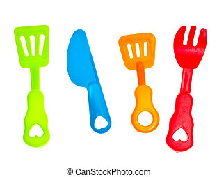 Plastic knife and fork, against a white background